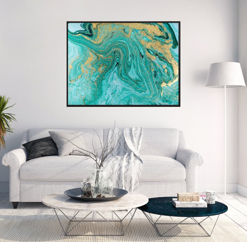 Blue marble wall canvas for a unique interior