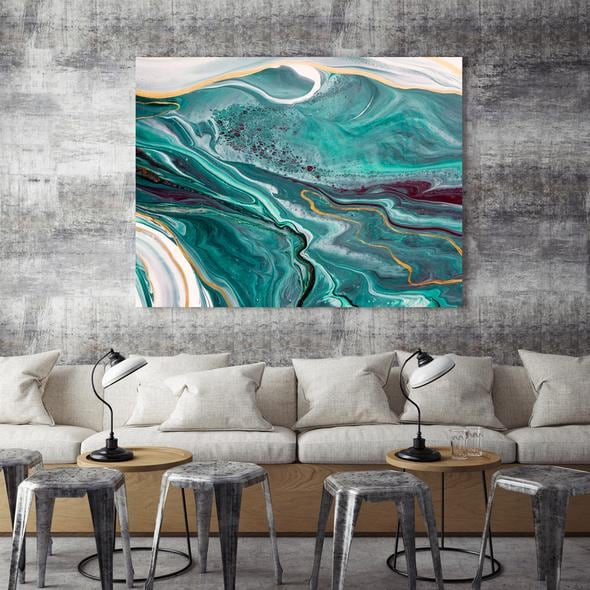 Abstract marble design wall art print for a stylish interior