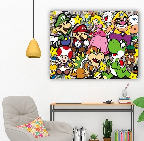 Street art wall canvas of Mario for a pop art wall decoration