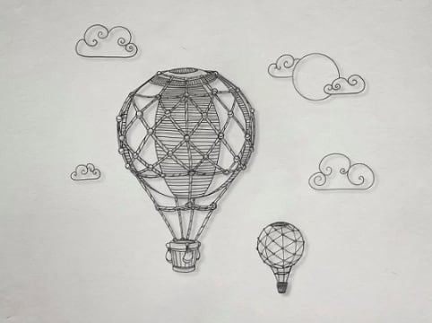 Eco friendly wall decoration of a hot air balloon with recycled plastic