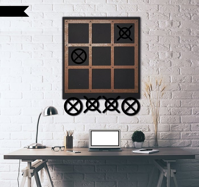 Tic tac toe metal wall decoration for design interior