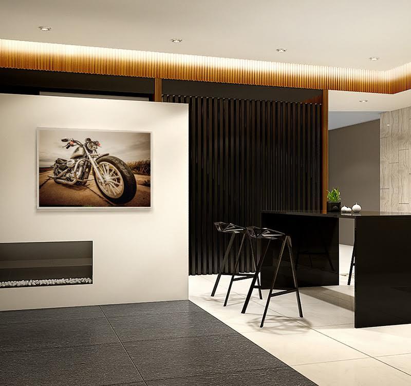 Très beau tableau déco imprimée sur toile coton de la célèbre moto Harley Davidson pour un intérieur Rock'n Roll