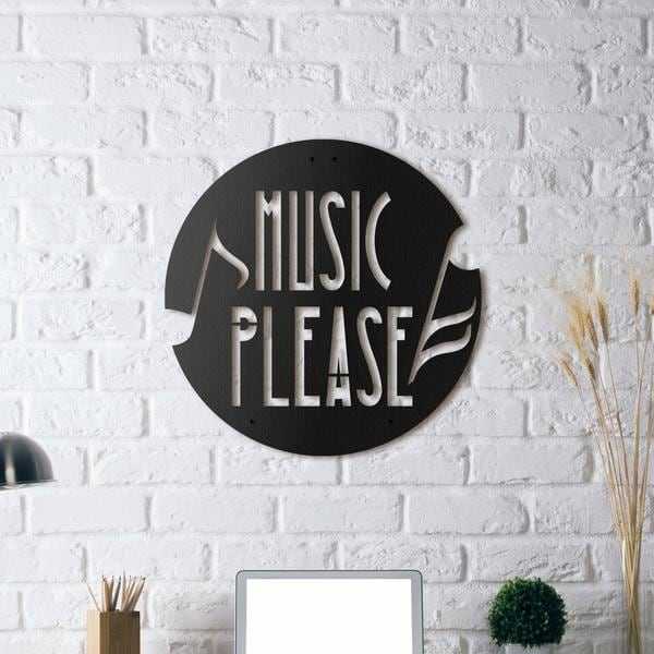 Black wall decoration on metal for music lovers