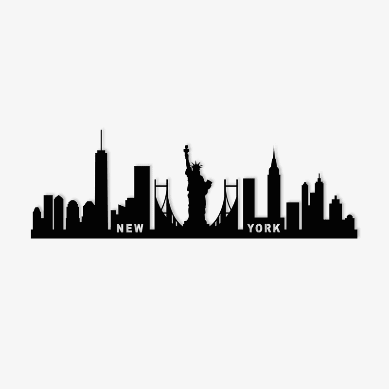 New York metal skyline in a wall decoration for an unique interior