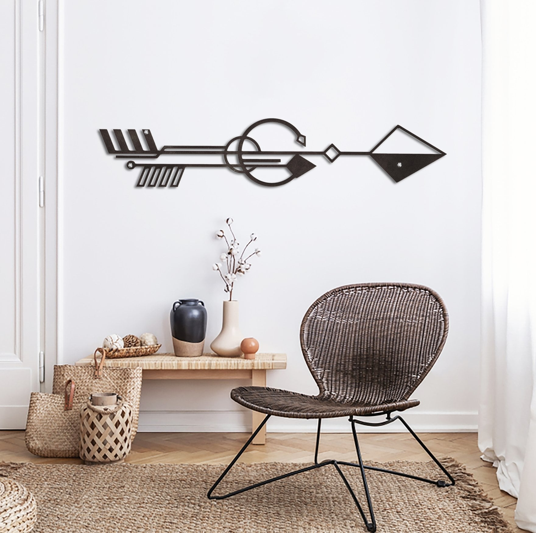 Nubio art wall decoration in metal for a boho interior