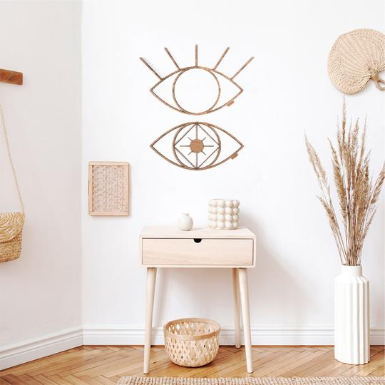 Wooden wall decoration of eyes for a unique interior decor