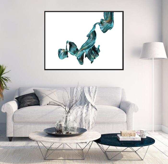 Tableau abstrait ondulation bleue pour une décoration murale unique