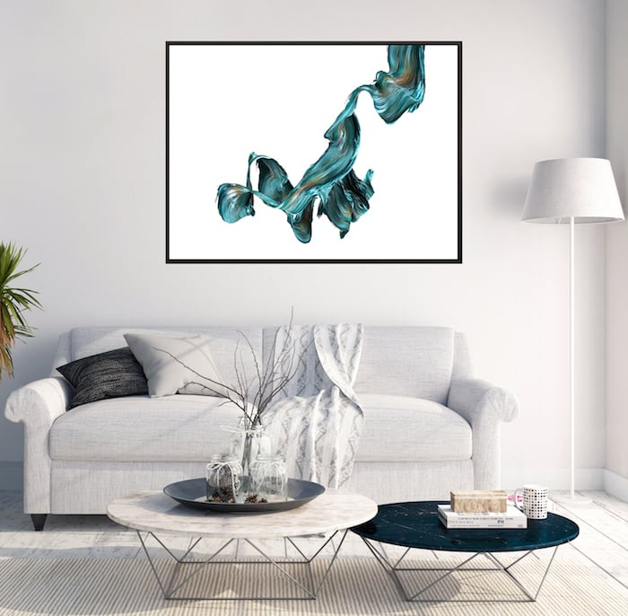 Abstract blue ripple canvas print for a trendy interior
