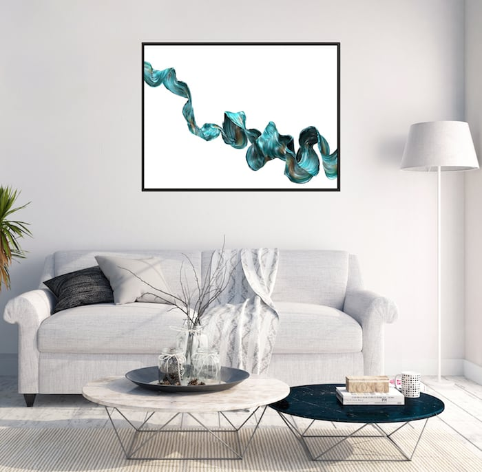 Tableau abstrait ondulation bleue pour une décoration murale tendance
