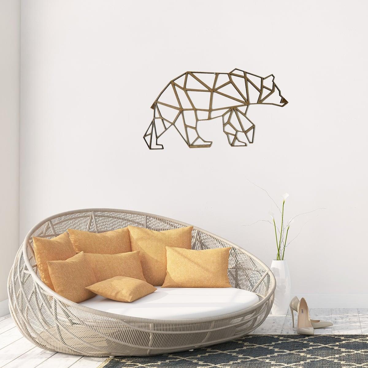 Décoration murale d'ours en bois pour une touche zen