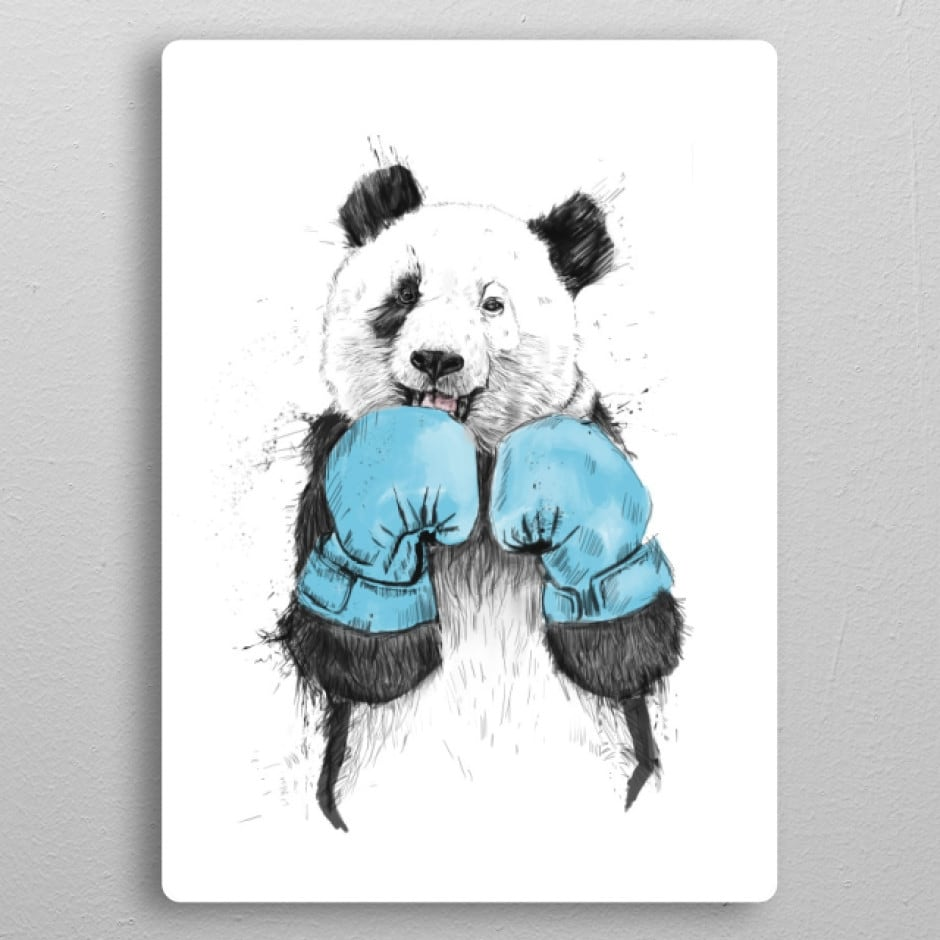 Metal wall poster of a boxing panda for a modern interior
