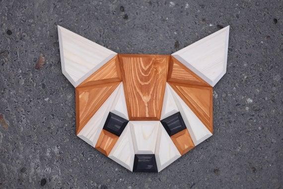 Tête d'animal déco design d'un panda roux pour votre décoration murale moderne