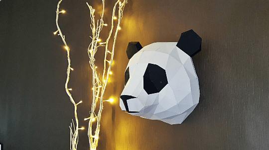 Wall paper trophy of a panda for design interior