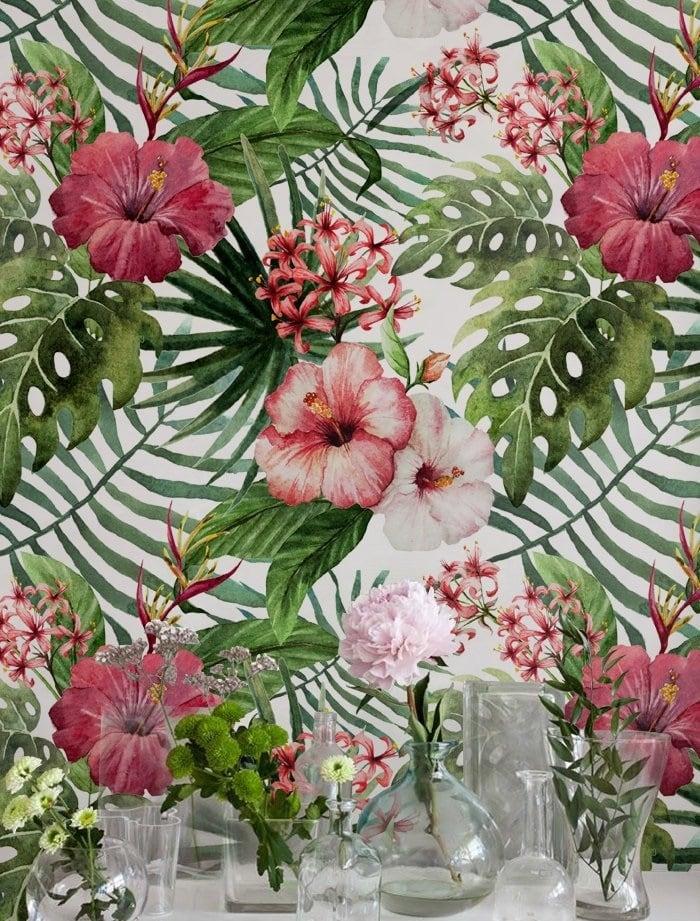 Papier peint deco florale de feuilles exotiques et monstera