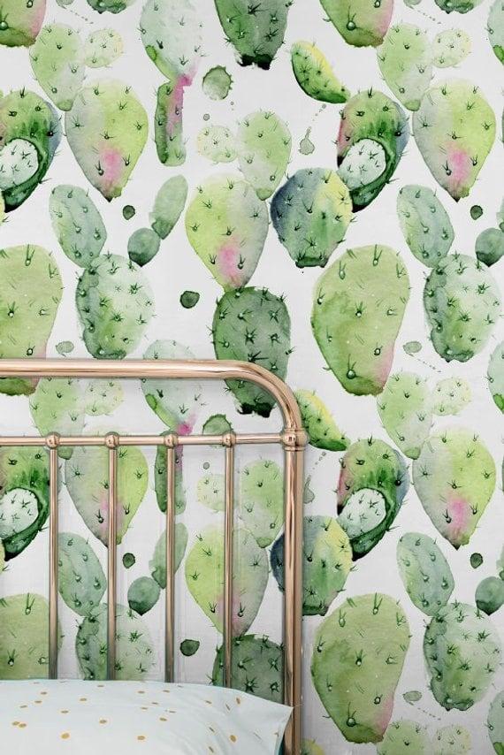 Papier peint de cactus dans un style aquarelle