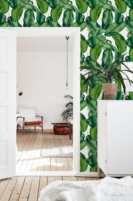 Papier peint feuille de bananier en vert pour une déco murale design