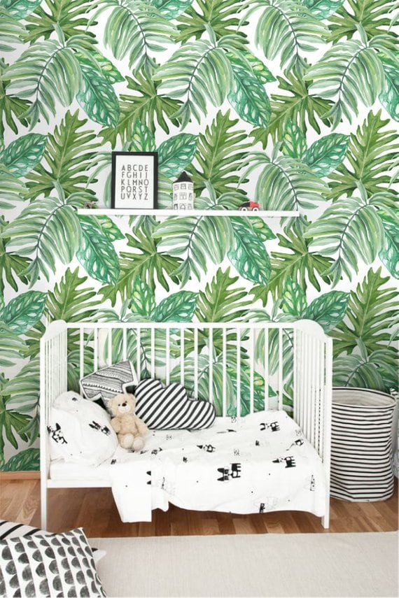 Monstera leaf modern wallpaper for a unique wall decoration