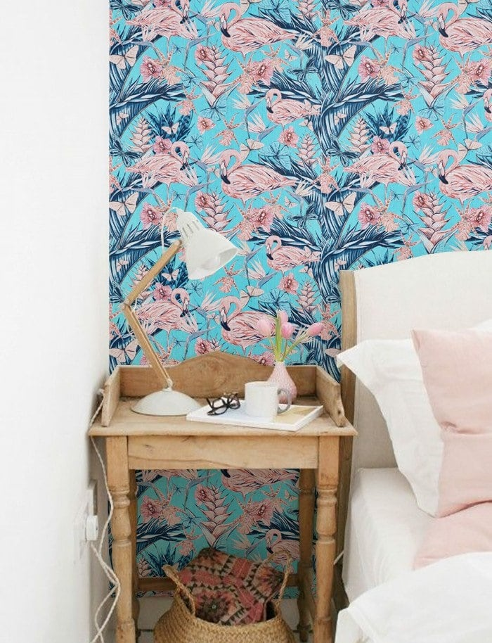 Pink flamingo contemporary wallpaper for a scandinavian interior