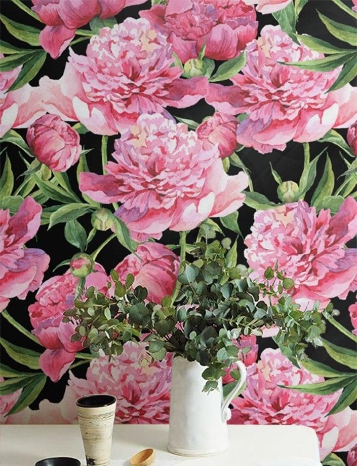 Papier peint florale rose pour une déco tendance