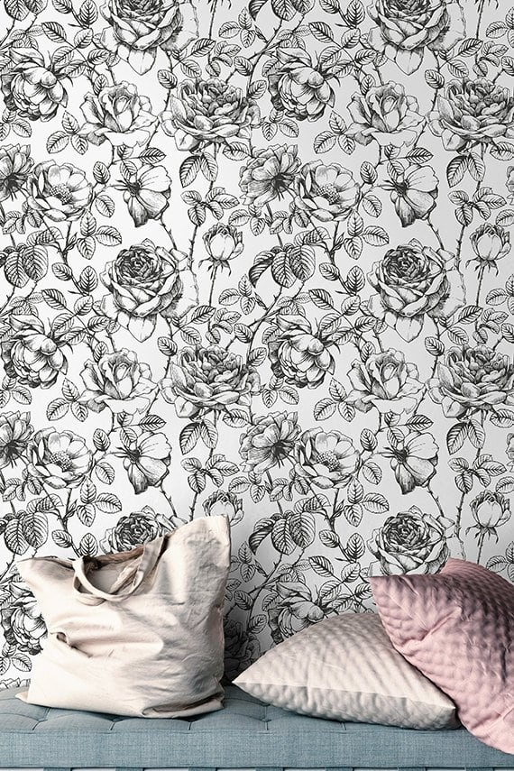 Black and white floral wallpaper for unique interior