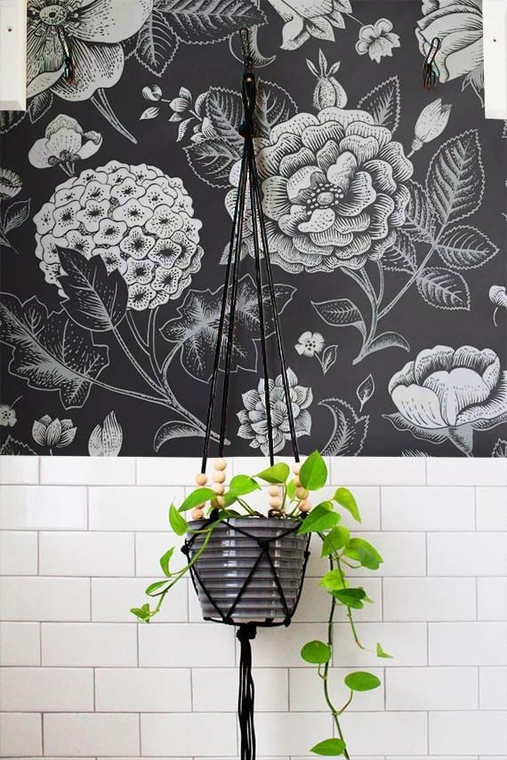 black and white wallpaper with flowers for a unique interior