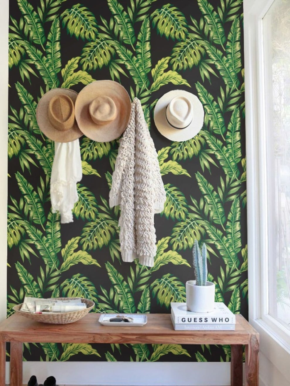Black monstera leave wallpaper for unique design interior