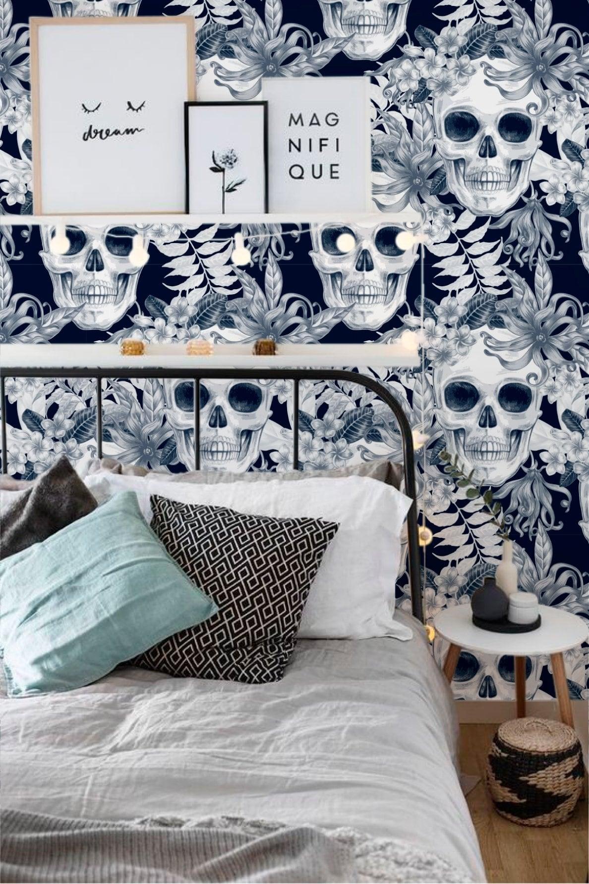 Papier peint moderne de skull avec composition florale