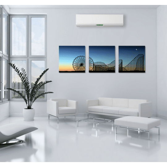 Decorative canvas print of an attraction park by night for a design wall decoration