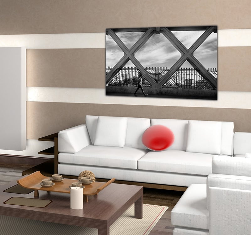 Abstract art picture of a man with the sign of peace to decorate your interior with a design canvas printed on aluminium