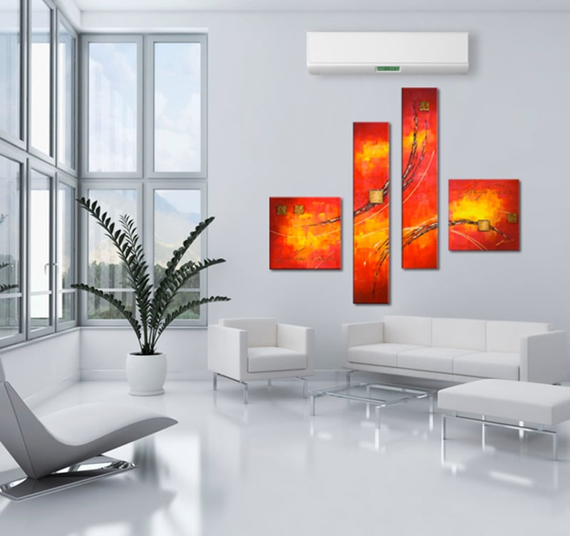 Tableau contemporain abstract fire for Peinture maison moderne