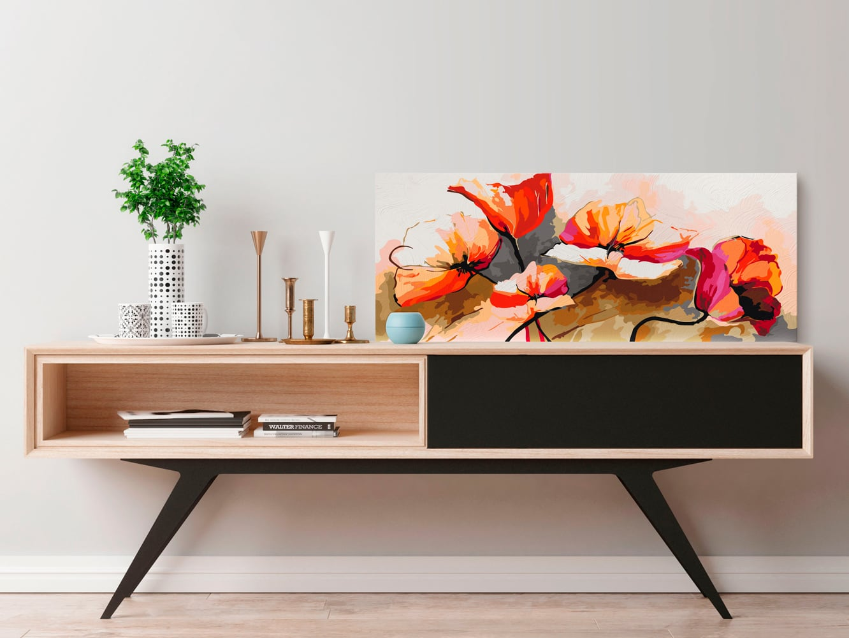 Peinture par numéro coquelicots moderne pour une déco florale