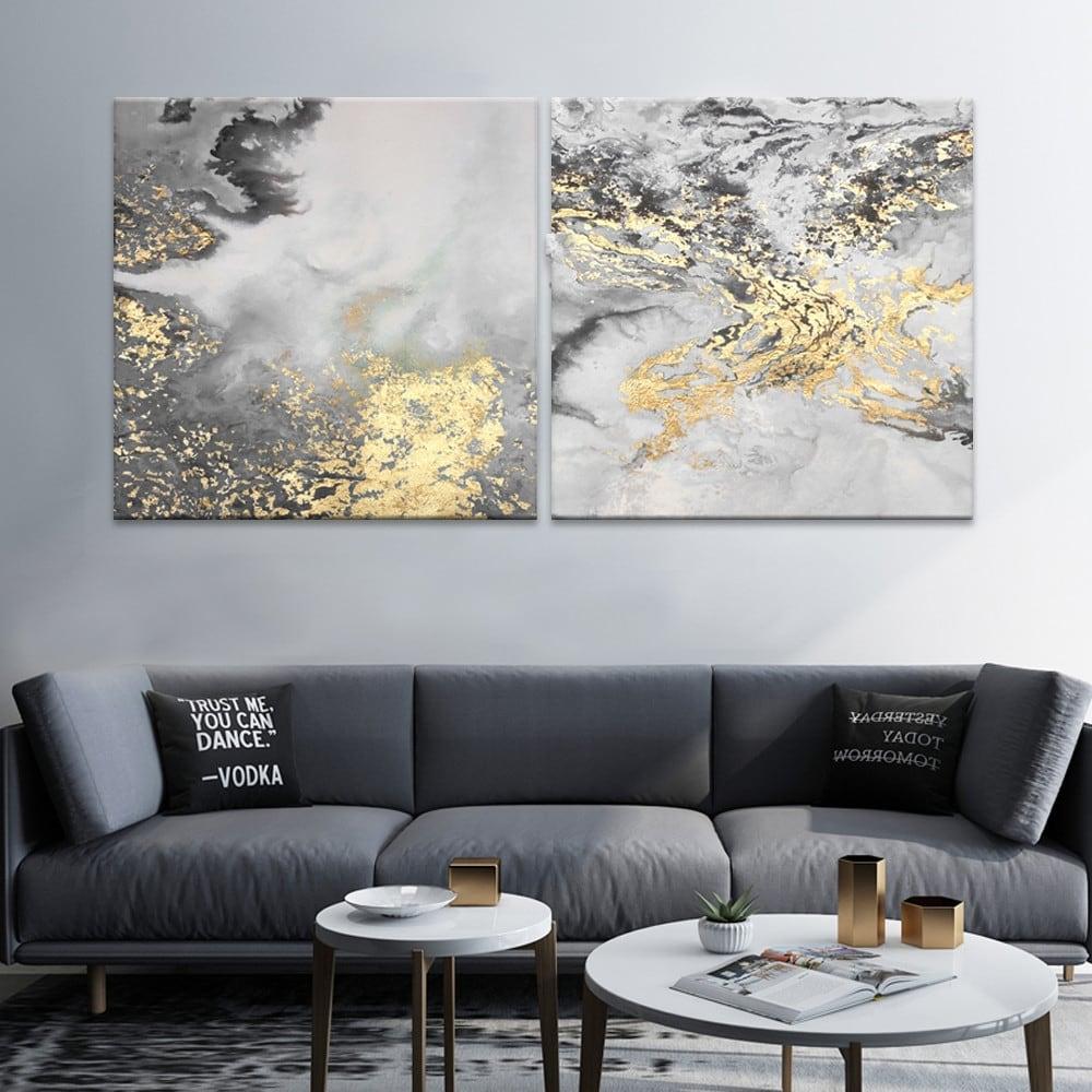 Toile peinture abstraite or et grise pour votre décoration murale