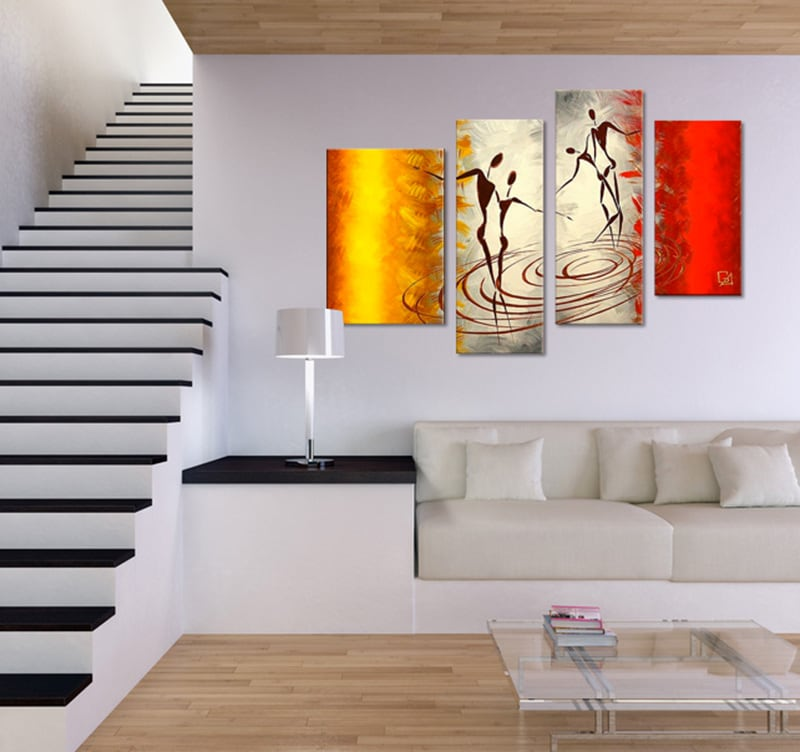 Peinture ethnique african dance - Tableau couleur chaude ...