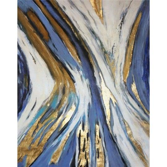 Tableau peinture abstrait avec des courbes dorées et bleues