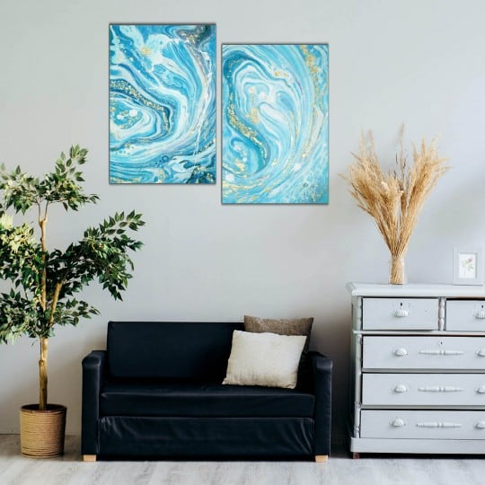 Design oil painting on canvas from our artist of a blue marble