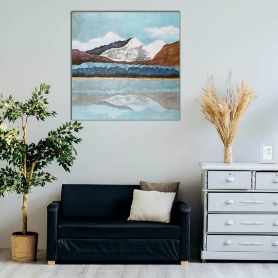Modern oil painting of a colored mountain for an unique interior decoration