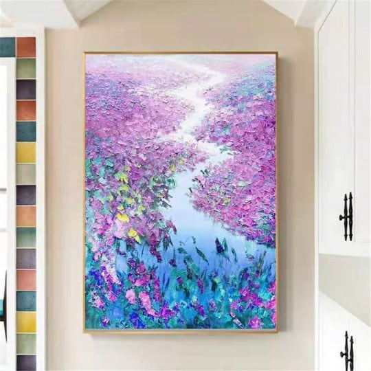 Design oil painting decoration with flowers and rivers for a modern living room