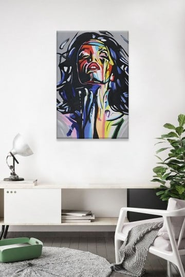 Pop art oil painting of a modern woman for a loft or interior design decoration