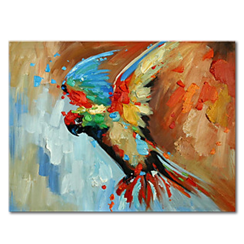 Toile peinture design perroquet colorée en déco murale