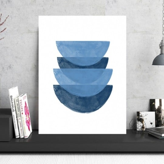 Design blue aluminium art photo for a abstract interior decoration