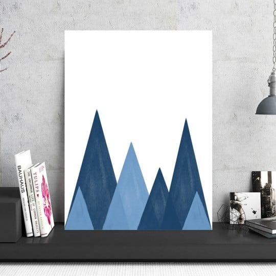 Tableau aluminium scandinave de collines bleues pour votre intérieur