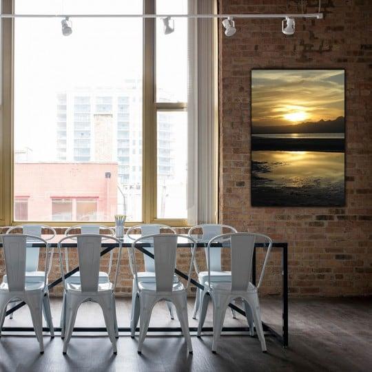 Photo d'art de coucher de soleil sur aluminium pour un intérieur moderne