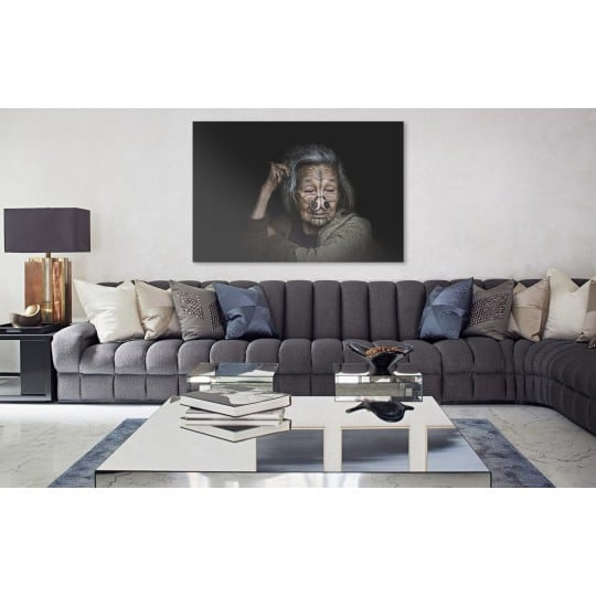 Black ethnic art photo of an old woman for wall decoration