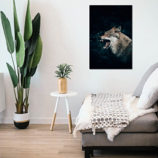 Wolf art photo decoration on aluminium for a design interior