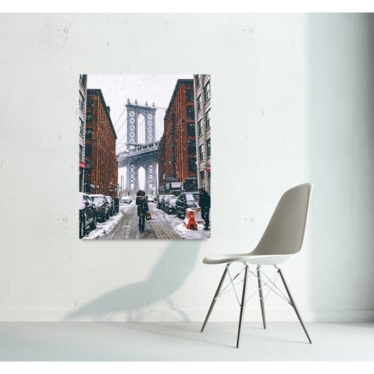Snowing new york art photo on aluminium for decoration