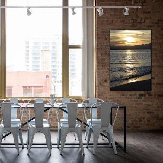 Photo d'art sur tableau aluminium de la houle en coucher de soleil