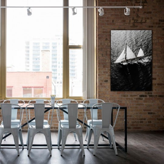 Art photo of black and white sailboat on aluminium for a modern interior