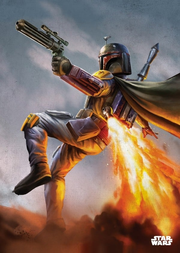 Poster metal Star Wars de boba fett en plein combat