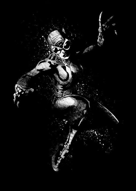 Poster mural métal de Catwoman en noir et blanc