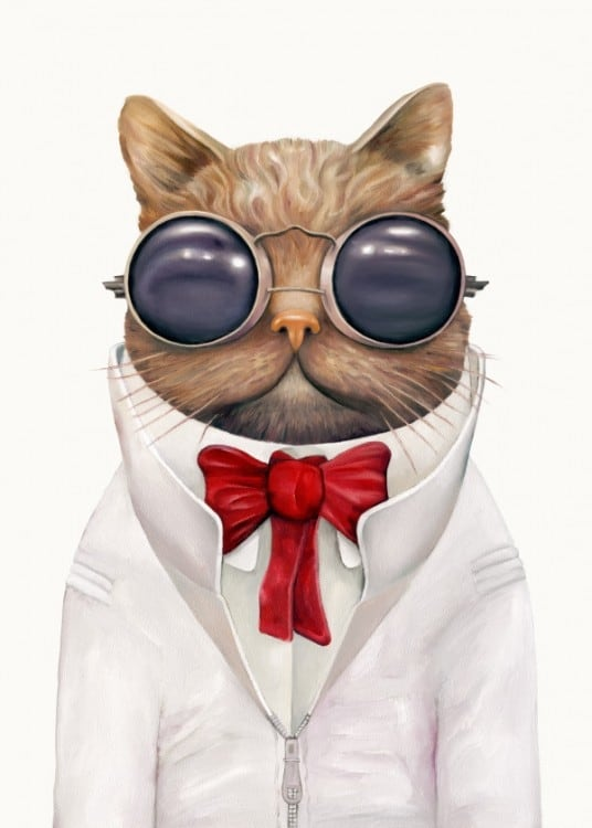 Poster mural métal d'un chat en costume de soirée